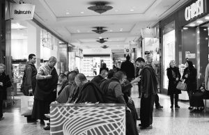 Buddists shopping at Alexa Berlin