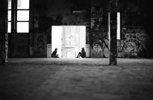Two women in the old ice factory