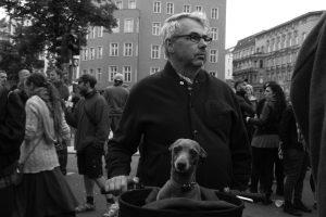 Man with dog at GEMA demo