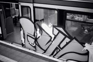 Sprayed suburban train