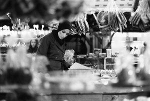 Christmas market seller