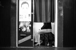 Woman in photo box
