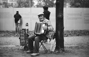 Old accordion musician