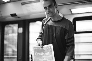 Street magazine seller