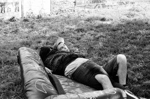 Techno couple sleeping