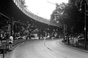 Warsaw bridge with soap bubbles