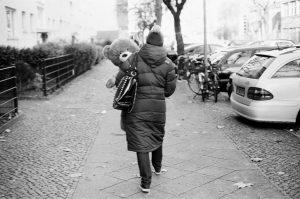 Mother with teddy bear
