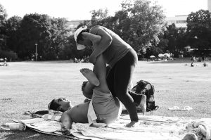 A man gets a massage in the park